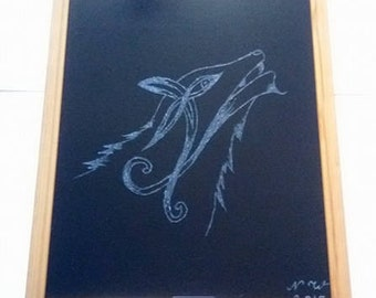 Wolf engraving
