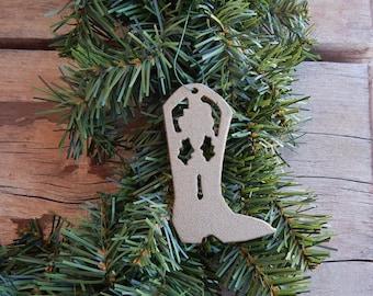 cowboy boot,Christmas tree Ornament,Cowboy Christmas,western, Christmas ornament,cowboy, boot,Christmas decorations,metal art boot,