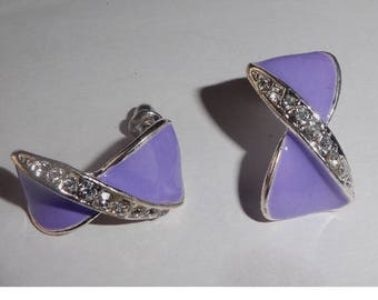 Lovely Lilac and rhinestone earrings