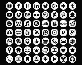 Blanc ensemble d'icônes de médias sociaux | Transparent rond cercle Avatar plat couleur boutons Blog site Web | Icônes numériques | Utilisation personnelle ou commerciale