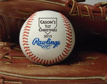 Baby's First Christmas Engraved Baseball