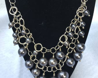 Silver and glass pearl bib necklace