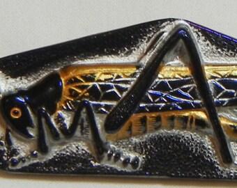 Grasshopper Czech Glass Button