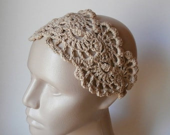 ON SALE 15% OFF HeadBand- Crochet Headband-   Hair Fashion Accessories - Crochet HairBand in Beige