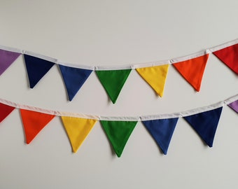 Mini Rainbow Fabric Bunting Banner Flags / Rainbow Party / Fabric Garland / Carnival Decorations / Circus Theme Party / Fabric Banner