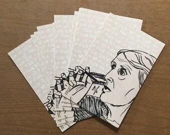 Virginia Woolf - Fuck 'Em Up Postcards - Pack of 5