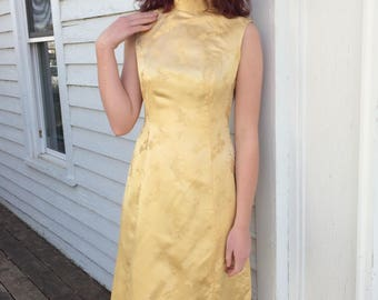 Vintage Yellow  Dress Long Cheongsam Asian Sleeveless Gown S