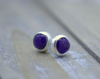 Blue Lapis Stud Earrings - Sterling Silver Earrings - Lapis Jewelry - Blue - Gift