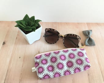 blast sunglass holder, tampon case, tampon holder, sunglass case, purple blast tampon holder, zipper pouch, gray bow, purple pouch