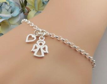 Angel Bracelet - Sterling Silver Little Angel and Heart Bracelet - guardian angel - protection - remembrance jewelry