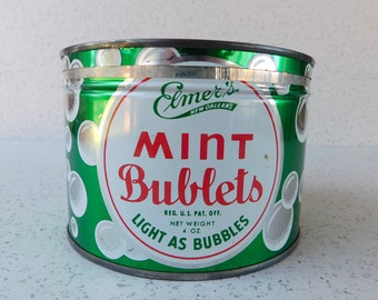 Mid Century Elmer's Mint Bublets Candy Tin, New Orleans, Elmer's Candy, Retro Decor, Collectible Tin, CheeWees, Gold Bricks, Heavenly Hash