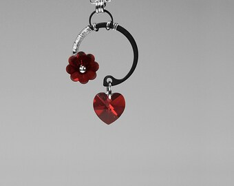 Dark Red Swarovski Crystal Industrial Pendant, Simple Crystal Pendant, Industrial Jewelry, Bridal Jewelry, Swarovski Necklace, Red Shift v7