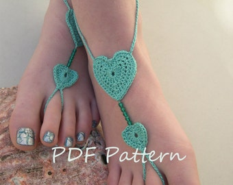 Heart Barefoot sandals pattern - Crochet heart Barefoot sandles pdf - bridesmaid foot jewelry pattern - English and French PDF TUTORIAL