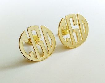 "Gold Circle Monogram Earrings,Personalize Monogram Earrings,Gold Monogram Earrings,Any initial Monogram Earings 0.6""inch %100 Handmade"