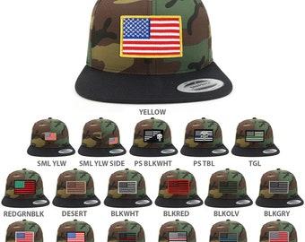 Assorted usa Patch Two Tone Camo Black Flatbill Snapback Baseball Cap (FLEX-6089TC-USA-FLAG)