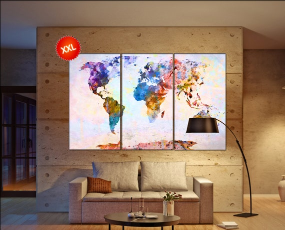 world map  canvas wall art  print on canvas wall art Large world map  artwork world map canvas wall art  Print home office decoration