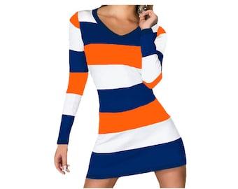 Orange + Navy Spirit Stripe Dress