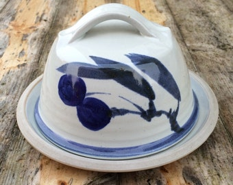Stoneware Covered Butter/Cheese Dish with Attractive Olive Branch Design.