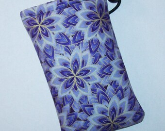 """Padded Pipe Pouch, Purple Floral Bag, Pipe Case, Glass Pipe Bag, Padded Pouch, Stoner Girl Gift, Boho Chic, 420, Smoke Bag - 5"""" DRAWSTRING"""