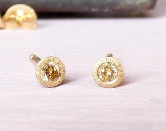 Clara Diamond Stud Earrings.  Made with 18k Fairtrade Yellow Gold & Conflict Free Diamonds