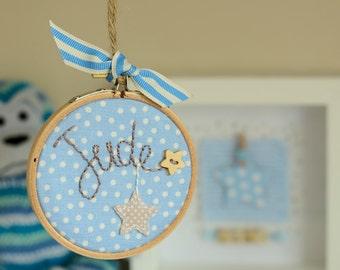 New baby boy, Christening, birthday embroidered name hoop keepsake