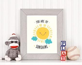 You Are My Sunshine, Printable, Nursery Printable, Sun, Clouds, Nursery Wall Art, Kids Print, Baby Shower Gifts