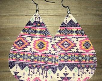 Aztec leather earrings, leather earrings, aztec, leather, earrings