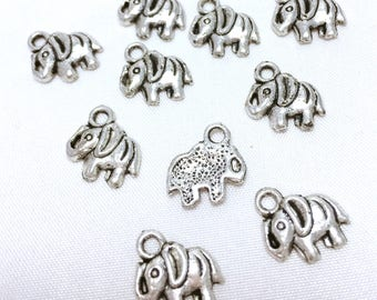 Set of 10 charms elephant - antique silver - 12 x 11 mm - jewelry making, DIY