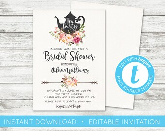 Bridal shower tea etsy edit yourself floral bridal shower tea party tea party invitation editable template filmwisefo Images
