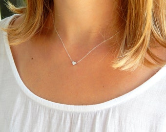 Dainty Brushed silver heart necklace, silver heart sterling silver love necklace, children necklace kids necklace, minimalist necklace 475