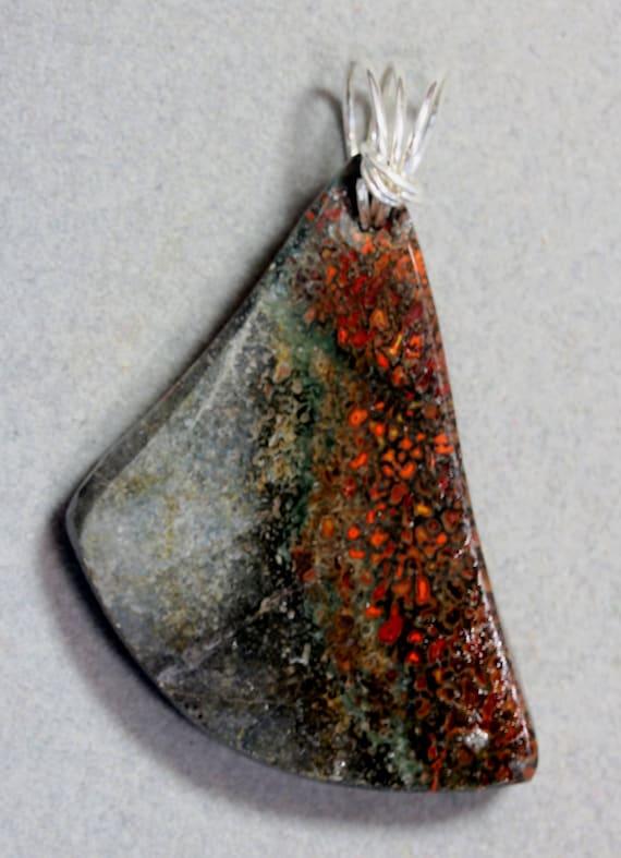 "Dinosaur Bone pendant, fossilized red black, ""Hatchet"" , silver twirl bail 96ct"