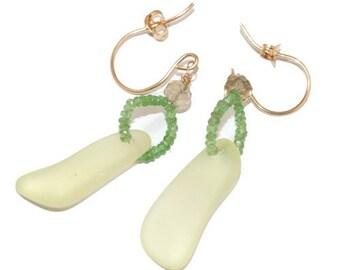 Lemon Yellow Antique Sandwich Glass Earrings with Green Gemstones