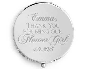 Flower Girl Compact Mirror, Engraved, Personalized, Silver, Bridesmaid, wedding, Flower Girl Gift