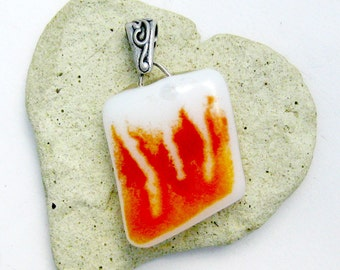 Fused Glass Pendant - Abstract Flames