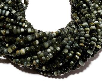 Cats Eye Chrysoberyl, Cats Eye Rondelle Beads, 6mm Beads, 14 Inch strand
