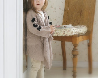 KNITTING PATTERN waterfall cardigan Renata with bows (kids and adult sizes)
