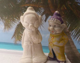 1930's Dopey Walt Disney and Unpainted Dwarf Snow White Character Bisque Ceramic 2pc Figurines