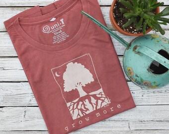 Tree Tshirt | Gardening Gift | Nature T shirt | Organic Clothing | Environmental T-shirt | Women's Bamboo Clothing | GROW MORE - Uni-T