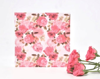 Square Hand Painted Floral Card. Greetings card, Rose Print, Watercolour. Botanical. Blank Card. Pink Rose. Birthday. Anniversary. Wedding.