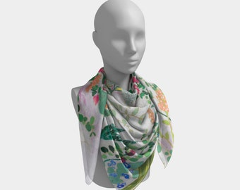 White Floral Square Scarf