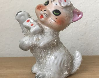 Vintage Anthropomorphic Sugar Beaded Cat Figurine,