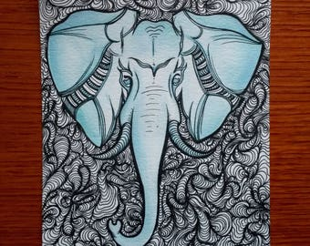Elephants Never Forget, Hand Painted Print