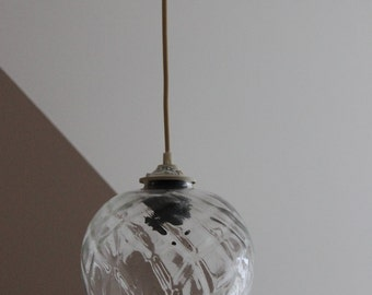 Petite Suspension lustre boule tulipe verre transparent ambré motifs croisillons / Lustre vintage art pop / Holy10