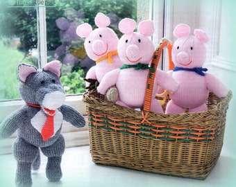 Instant Download PDF Knitting Pattern for Three little Pigs and the big Bad Wolf