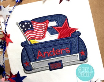 Fourth of July Shirt / Fourth of July Applique / 4th of July Shirt / 4th of July Applique / Boy Truck Shirt / 4th of July Truck Applique