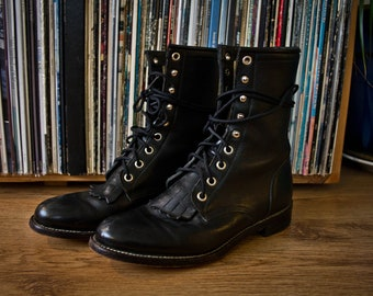 Black Leather JUSTIN Roper Boots - Vintage Lace Up Packer Boots - 5.5 Mens - 7 Womens - Vintage Ropers - Removable Fringe - Leather Boots