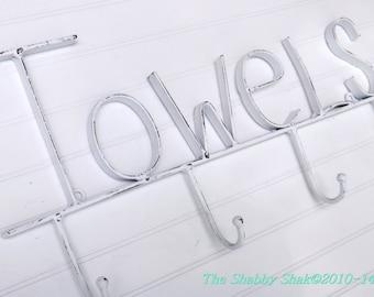Towel Rack,Rustic Bathroom,Towel Hook,Rustic Wall Decor,White,Shabby Chic, Towel Hook