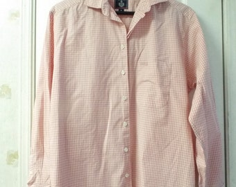Pink Plaid Check Cotton Designer Long Sleeve Shirt Size Med French Preppy