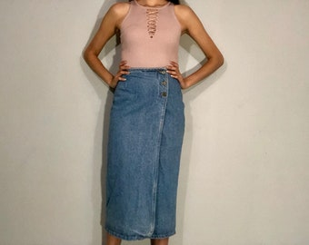 1990s denim wrap skirt