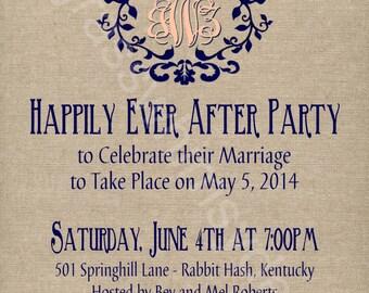 Rustic / Burlap/ Linen Post- Wedding or Elopement Celebration, Printable Invitation